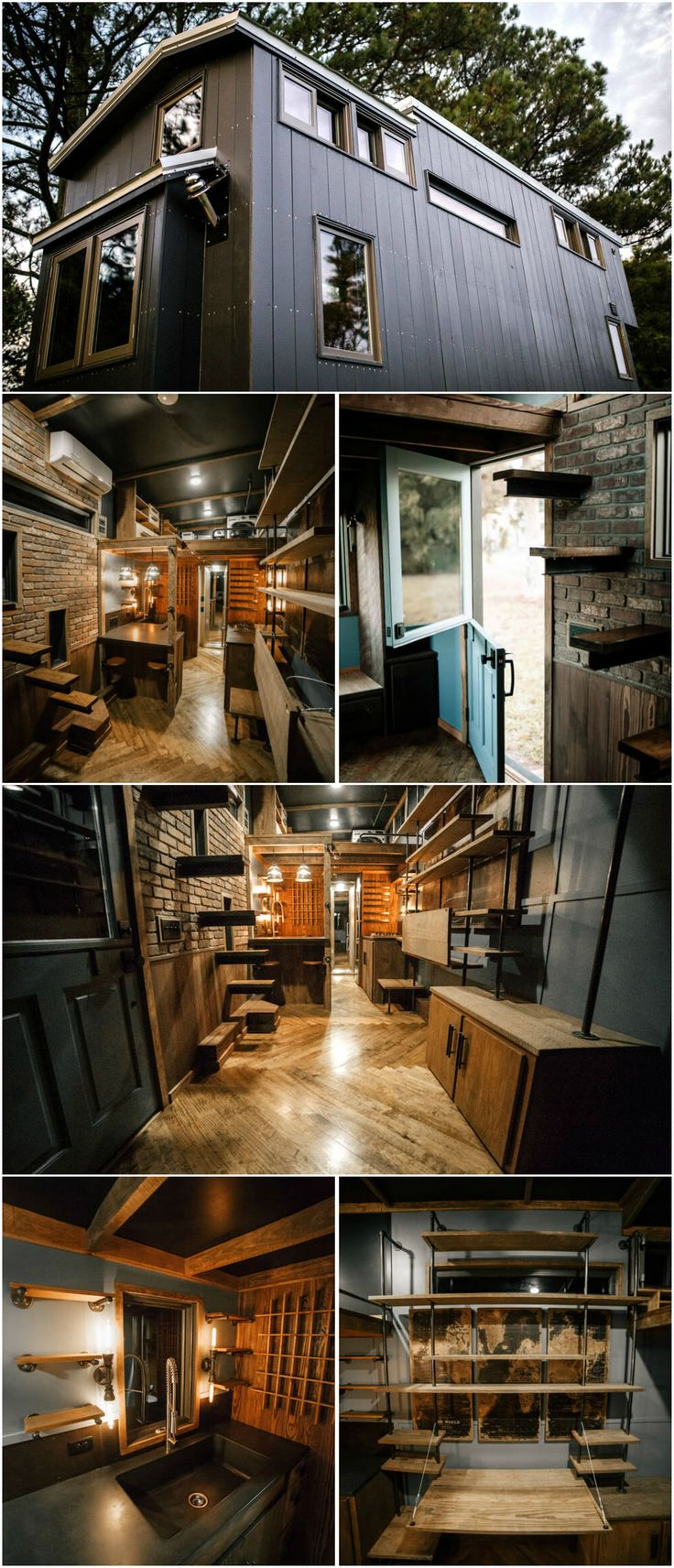 The Rook is a stunning tiny house built by Wind River Tiny Homes.  The exterior consists of painted vertical siding with exposed stainless screws and a custom roofline. Inside is an incredible display of craftsmanship and attention to detail.  Everything from the custom welded bookshelf with fold down desk to the herringbone floors has been matched to fit the house's theme.
