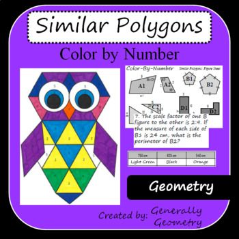 This document contains a color by number that tests knowledge of similar polygons. 8 problems are included on the worksheet. Answer key is included! Like this Color By Number? Check out some others: Venn Diagrams Color