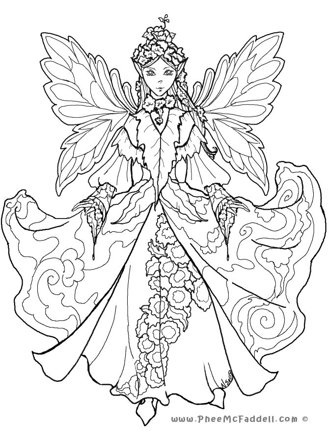 Kleurplaat Anime Fairies Colouring Pages