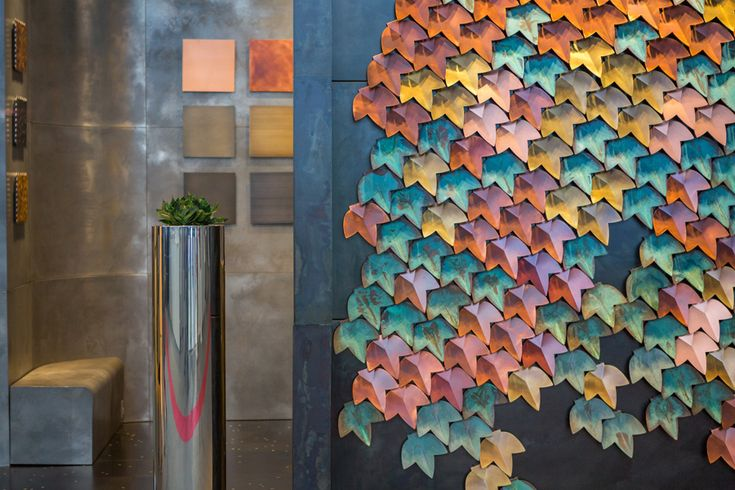 VERTICALGREEN #wallcovering #Decastelli at Maison&Objet 2015 #copper #greenspan #brass #fall ph: Stefano Borghi
