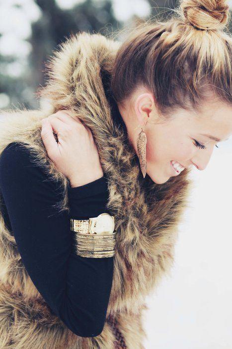 Winter Fur Vest. Winter Fashion Trends 2016.