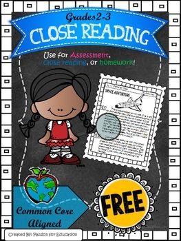 Close Reading Passages 2nd/3rd Grade (Informational) FREE