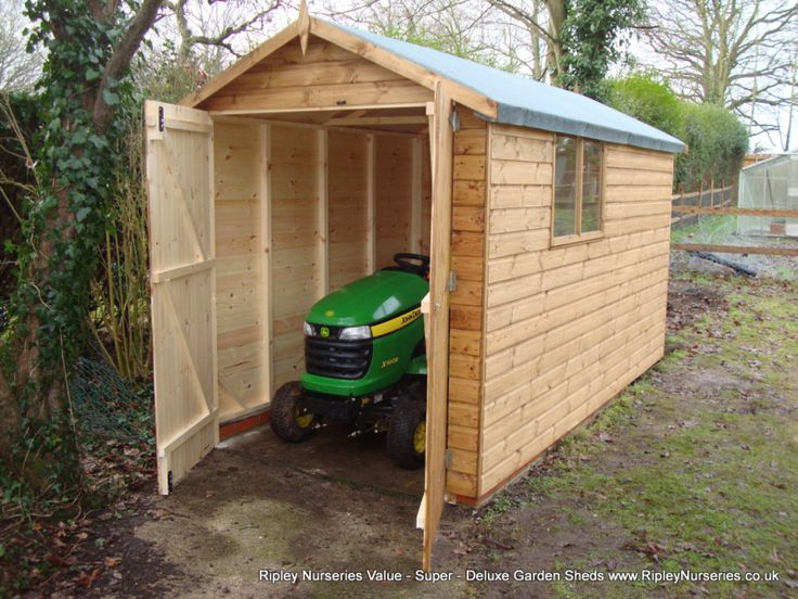 Deluxe apex tractor shed 11x6 double doors no floor for Brick garden shed designs