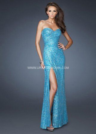 Probably going to be Elsa for prom   La Femme Long Fitted Prom Dress with a Slit 19099 Ocean Blue