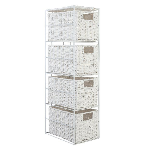 Buy HOME Slimline 4 Drawer Storage Tower - White at Argos.co.uk - Your Online Shop for Bathroom shelves and storage units, Bathroom furniture, Home and garden.