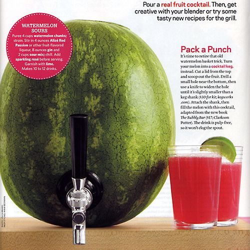 Watermelon Keg: Such a Great Idea.....image from Food Network Magazine
