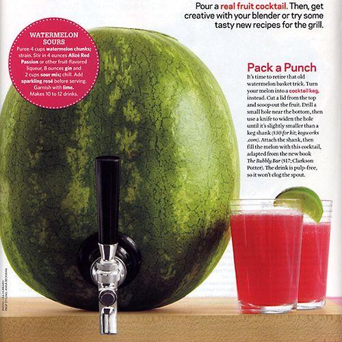 watermelon turned drink dispenser.: Food Network, Watermelon Cocktail, Summer Parties, Watermelon Drinks, Summer Bbq, Cool Ideas, Watermelon Keg, Watermelon Taps, Watermelon Punch