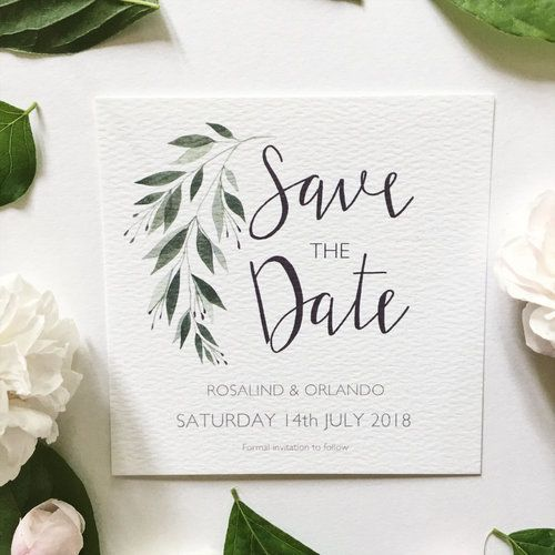 Watercolor Botanical Save the Date // Wedding Bride …