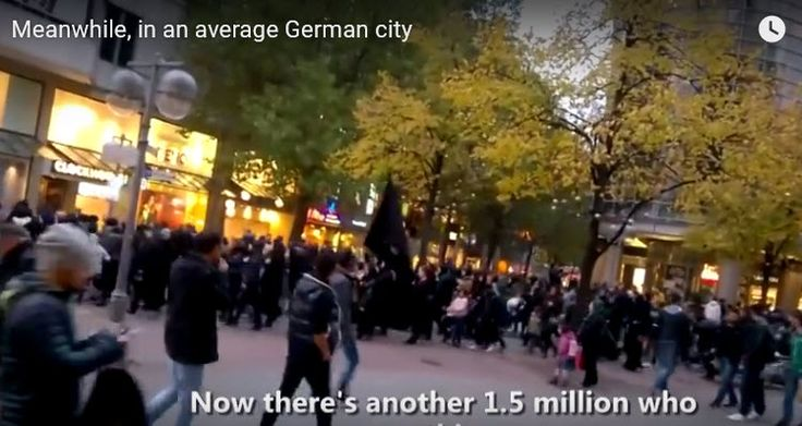 """Last week in the town of Hannover in Germany, Muslim migrants, no longer pretending to be """"refugees"""", marched through the city streets waving the black flag of ISIS and claiming the land for Allah. I don't know how many times we have to say it – but – they are not refugees and they are not migrants. They are Islamic jihadis who are acting en masse to claim Europe for Allah and Islam. They are not assimilating and they will not assimilate into the culture of their host nations. They will…"""