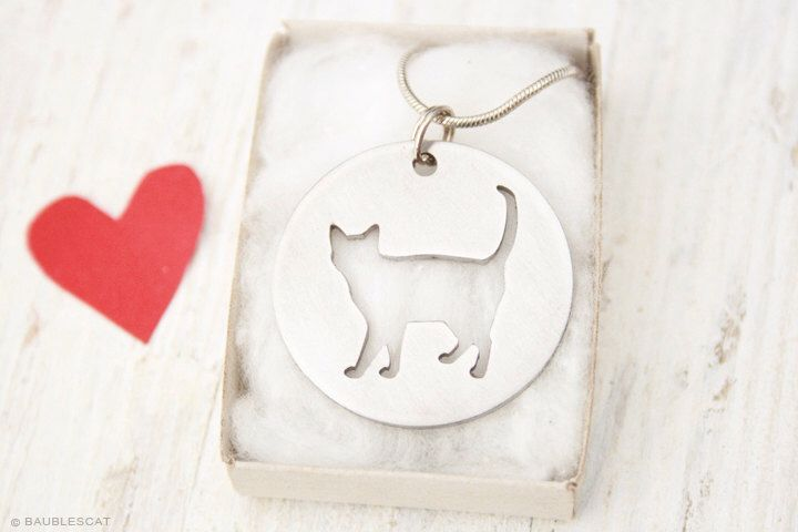 free shipping - Korat Cat Kitten Kitty Charm Stainless Steel Pendant Necklace with chain by BaublesCat on Etsy https://www.etsy.com/listing/206118775/free-shipping-korat-cat-kitten-kitty