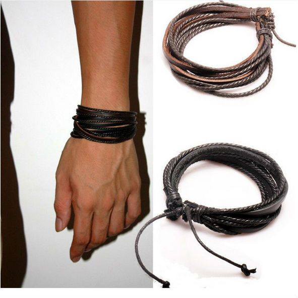 2013 New Arrival Wrap Leather Black and Brown Braided Rope Bracelet for Men and Women Charms Fashion Man Jewelry PI0246-in Leather Bracelets...