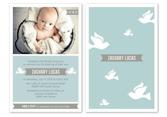 Blue Baby Boy Baptism / Christening Invitation by PAPERHEARTSbyJ, $15.50