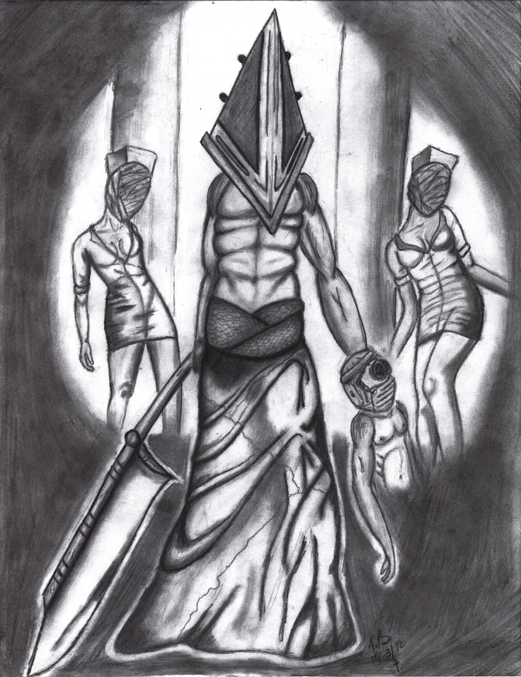 silent hill nurse pyramid head miner silent hill black white pencil drawing tattoo. Black Bedroom Furniture Sets. Home Design Ideas