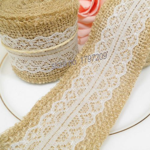2meter Natura Jute Burlap Hessian Ribbon with Lace Trims Tape roll vintage rustic wedding decoration mariage wedding cake topper