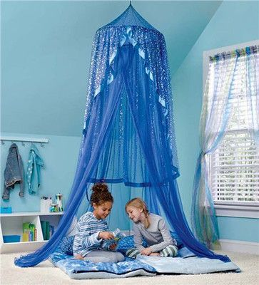 Twinkle Stars Lighted Girls Bed Room Canopy Net Lit Tent