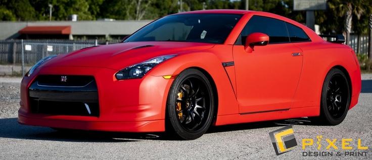 Nissan GTR Matte Red Full Vehicle Wrap Nissan gtr