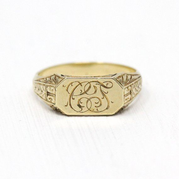 Timeless Antique 1920s Art Deco Era 10k Yellow Gold Signet Ring This Classic Ring Has An Elongated Center Plaque T Signet Ring Gold Signet Ring 1920s Art Deco