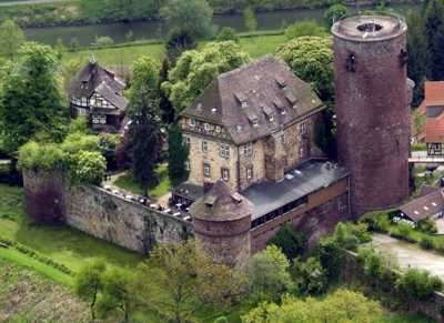Castle Trendelburg in Germany. Known as Rapunzel's Castle because of the tower, this medieval castle is now a hotel.