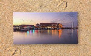 Harbour Lights, Hillarys Boat Harbour Beach Towel design by Dave Catley…