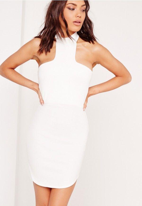 Halter Neck Curve Hem Bodycon Dress White - Missguided