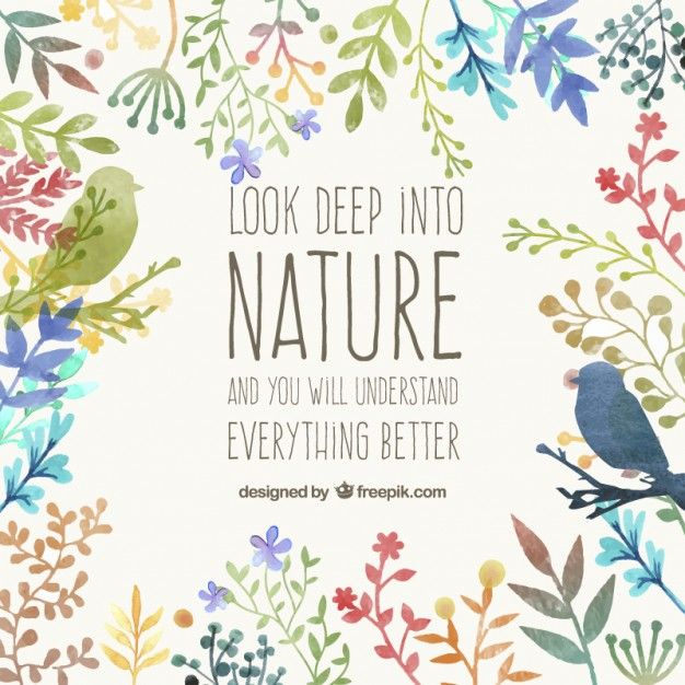 Pintados à mão cartão da natureza Vetor grátis