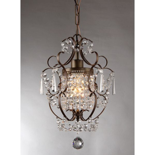Rosalie 1-light Antique Bronze Crystal Chandelier is one of the best light fixture there is. It is glamorous enough for any type of home, and it is highly functional with high quality of materials use