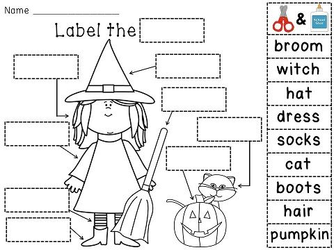 Label the Witch fun cut and paste Halloween labeling activity!
