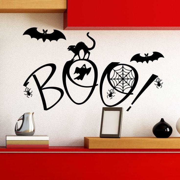 Halloween Wall Decal Cat Bat Spider Art Home Kids Decoration Decor Sticker AM155 #Stickalz