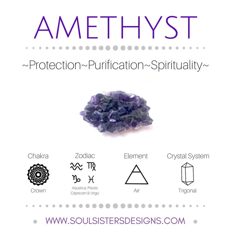 Metaphysical Healing Properties of Amethyst, including associated Chakra, Zodiac and Element, along with Crystal System/Lattice to assist you in setting up a Crystal Grid. Go to https:/soulsistersdesigns.com to learn more!