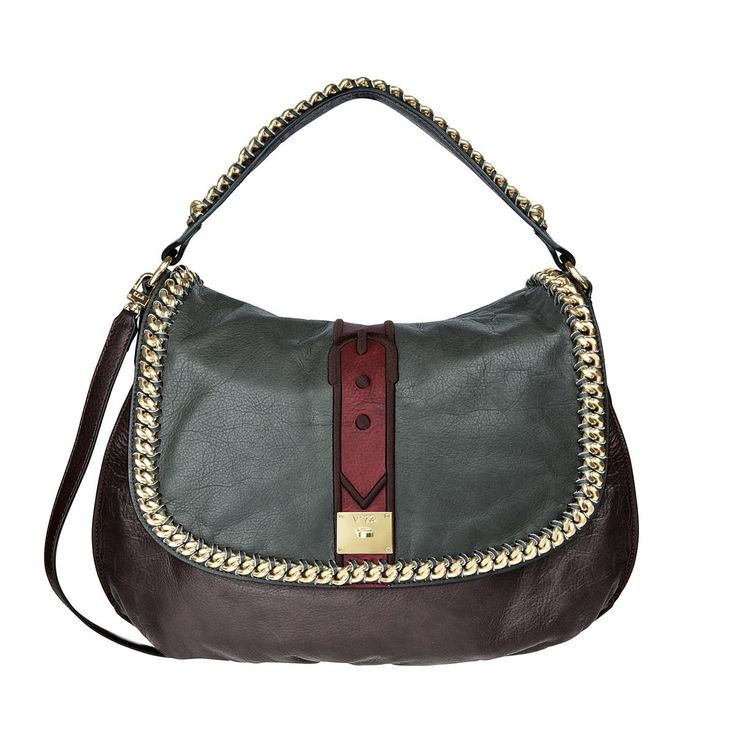 V73 New York T.Moro/Red Leather Bag whit zip closure , Chain decoration, Charms shown in photo included, Metal feet at the base 44 x 32 x 10 Shop now: http://www.v73.it/en/pelli-pregiate/new-york
