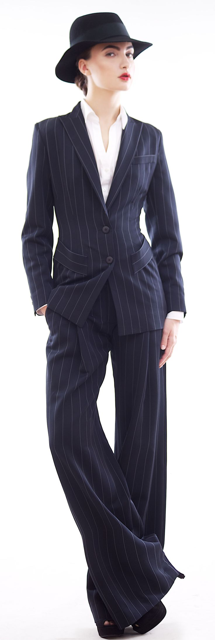 Man style navy blue stripe wool and viscose blend pants suit. http://www.etsy.com/shop/tsyndyma?ref=si_shop: