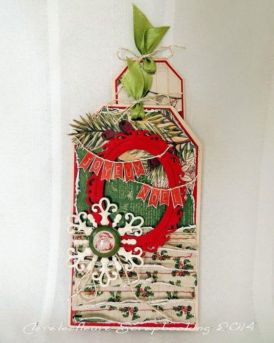 Claralesfleurs Scrapbooking 2014 - Carte de Noël avec pochette pour signet avec étampes textes Joyeux Noël #2 de Simple à Souhait + tutoriel...
