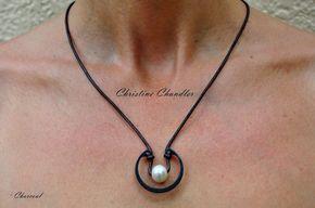 Perla y perla de collar - Unisex perla y collar de cuero Unisex de joyería - collar de cuero - cuero - cuero y joyería de cuero