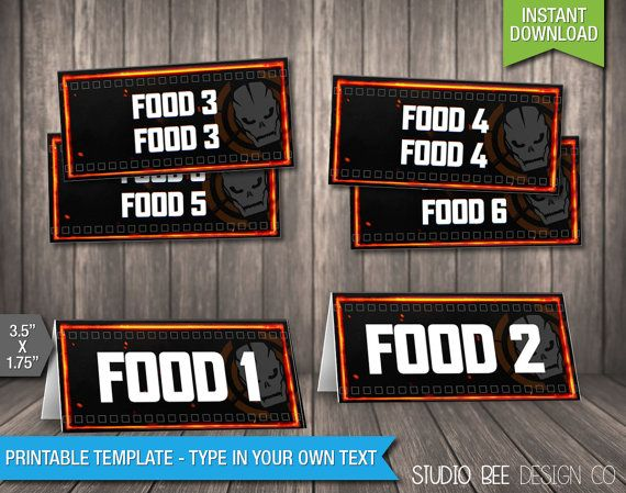 Call of Duty Black Ops 3 Food Tags INSTANT by StudioBeeDesignCo