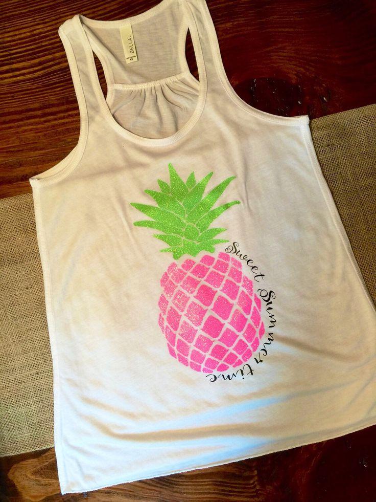 Sweet Summertime Pink Glitter Pineapple Tank by TexasSweetTees on Etsy https://www.etsy.com/listing/234268259/sweet-summertime-pink-glitter-pineapple