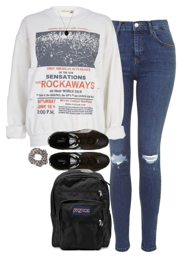"""OOTD - school. // 3.05.16"" by francesca-valentina-gagliardi ❤ liked on Polyvore featuring Topshop, River Island, JanSport, Quarry, ASOS and Wet Seal"