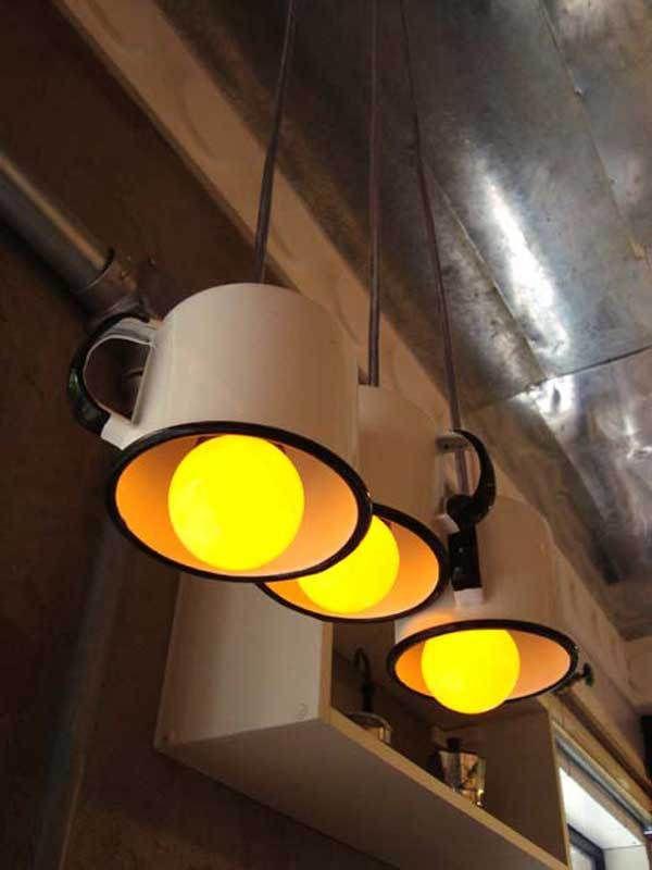 DECORAÇÃO DE CASA - luminária com caneca de Ágata. www.saldeflor.com.br