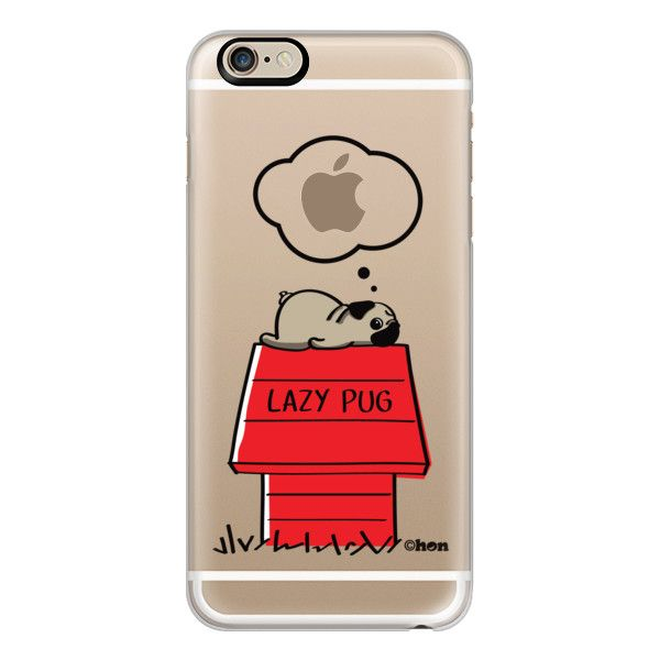 iPhone 6 Plus/6/5/5s/5c Case - LAZY PUG ($40) ❤ liked on Polyvore featuring…