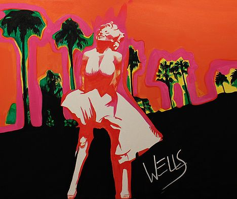 Spirit Of Marilyn art by Stacey Wells. Marilyn Monroe with her white dress flowing in the desert breeze in Palm Springs. Original art by  Stacey Wells