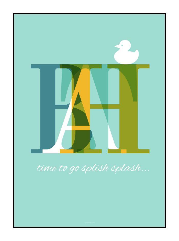 Lækker grafiske plakat til dit badeværelse. Designet af grafisk designer Tine Faurholdt. Køb plakaten i shoppen på designerblog.dk