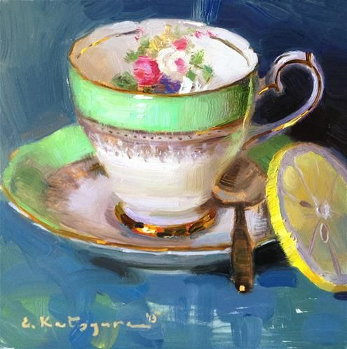 "Daily Paintworks - ""Green Teacup and Lemon"" - Original Fine Art for Sale - © Elena Katsyura"