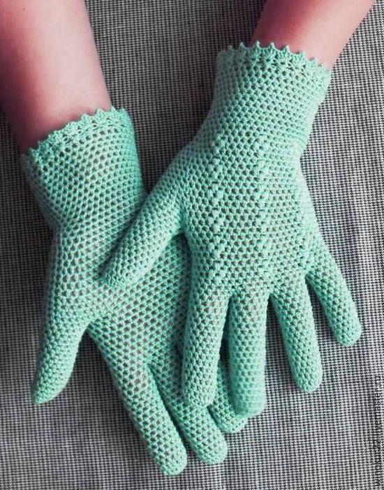 """Купить Перчатки ажурные """" Мика"""" - мятный, однотонный, перчатки женские, перчатки вязаные"""