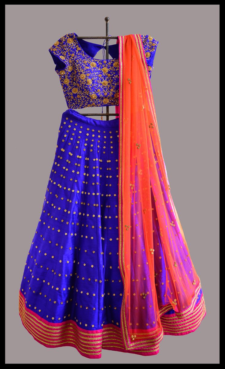Blue lehenga for this season.. #heavy #embroidered #lehenga #paired #with #handembroidered #blouse #and #dupatta #tritiyadesigns #hyderabad