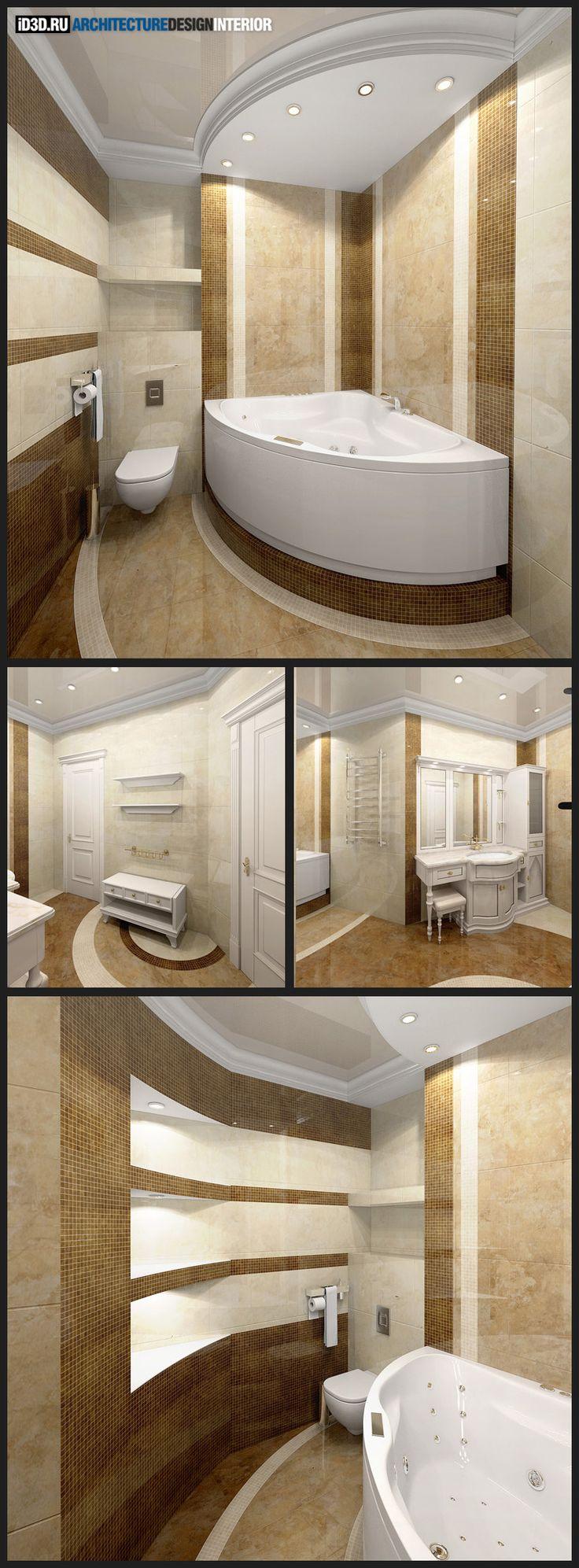 интерьер ванной комнаты, угловая ванна, мозаика