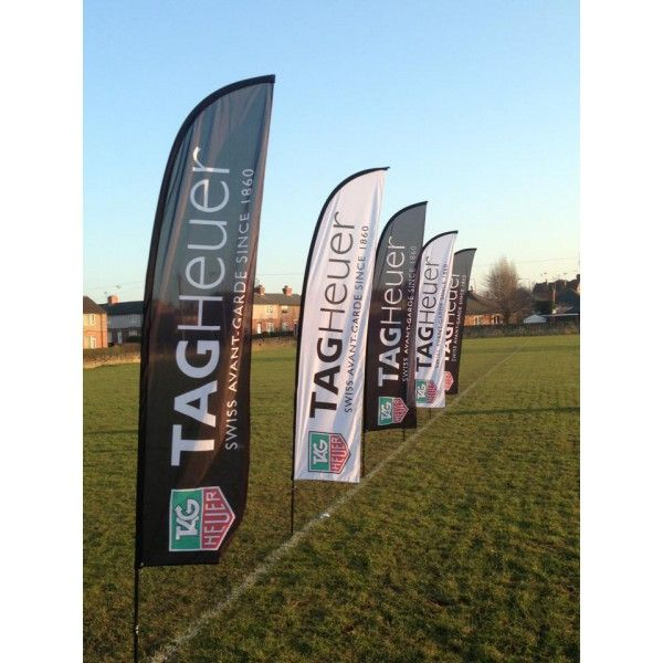 These traditionally shaped feather flags are ideal to promote any small event or business. The feather flag floats gently in the wind when placed outside, however is 'sturdy' enough to still be readable. The gentle movement of the 2.8 metre feather flag is eye catching and therefore makes it a perfect flag to advertise companies and give directions at smaller sporting events such as marathons or road bicycle racing events. Graphic Size;  280cms x 50cms.