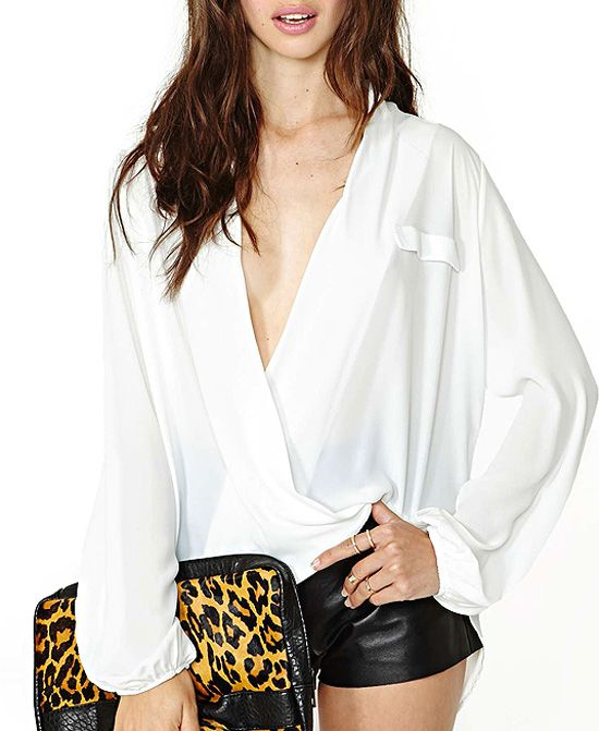 Sexy Deep V-Neckline Loose Fit Chiffon Blouse