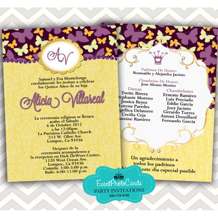 55 best Butterfly Quinceanera Invitations images on Pinterest