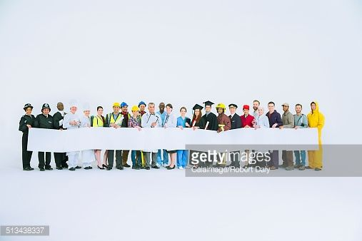 Stock Photo : Diverse workforce holding signs
