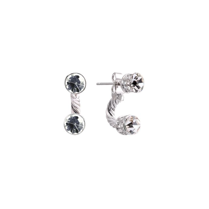 A stunning Rhodium plated pair of earrings set with vibrant, fine Austrian Crystals. These earrings can be worn 2 different ways either as a simple stud or as a half hoop with a drop crystal mirroring the one worn on the ear. Finished with 2 rows of Clear crystals around each cap this stunning collection […]