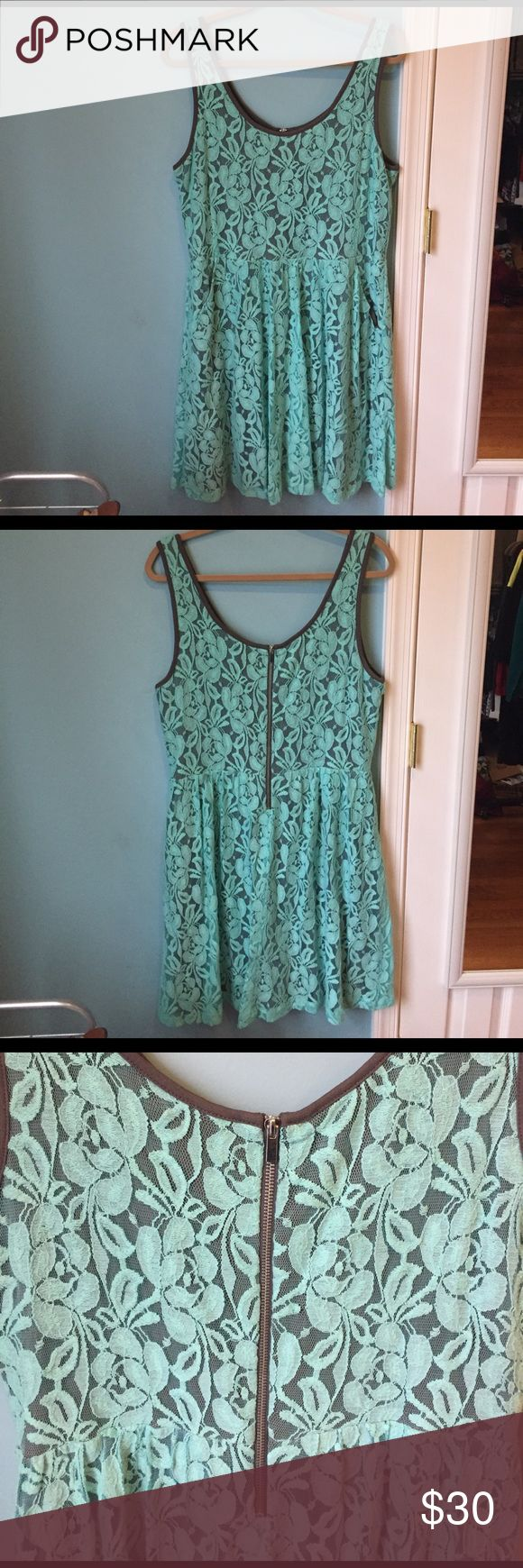 Nine West Turquoise Lace Dress (Size 14) Nine West Turquoise lace dress! Size 14 and true to size! Extremely cute on!Length (from top of strap to bottom): 39 inches. Only worn a handful of times and is extremely comfy! If you have any other questions, don't hesitate to ask 💞 Nine West Dresses Midi
